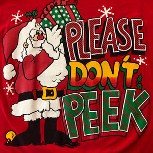 Vintage Shirts - 80s Please Dont Peek Christmas Shirt Ugly Holiday